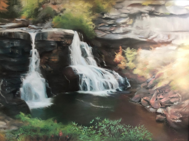 Blackwater-Falls-West-Virginia-18x24-pastel-by-Evie-Baskin