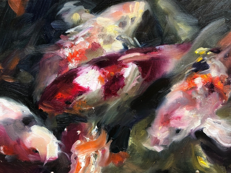 Koi-1-9x12-oil-by-Evie-Baskin