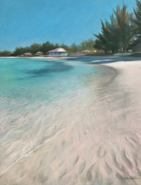 Soft-Sand-Vibrant-Sea-16x20-pastel-by-Evie-Baskin