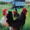 """Grass Fed Chickens"", pastel, $440"