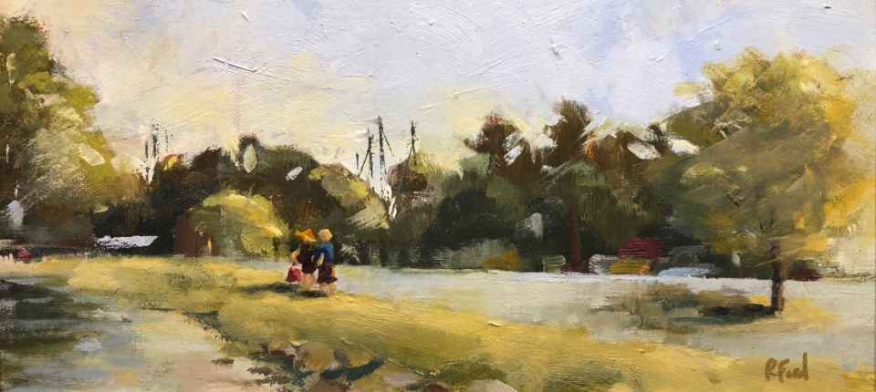 Summer-Day-on-the-Strand-oil-6x12-by-Rhonda-Ford