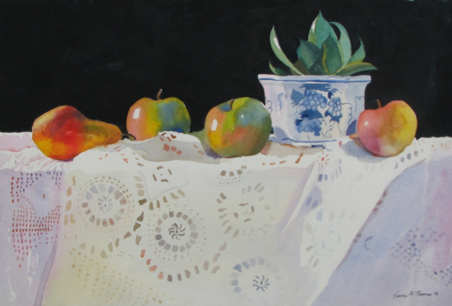 Blue & White Pot with fruit,signed