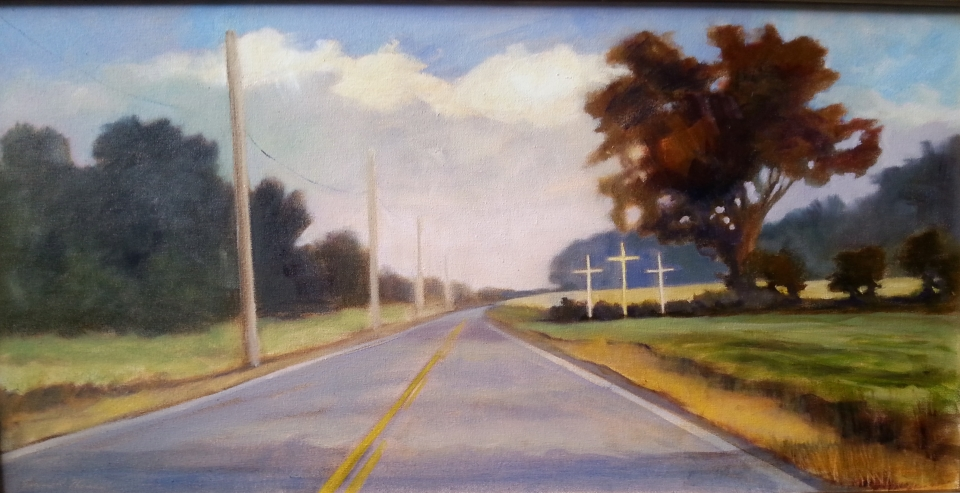 Roadside Inspiration, oil 30X15
