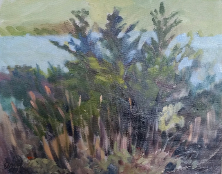 Three Pines, 9X12 Oil